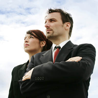 Man and Business Woman